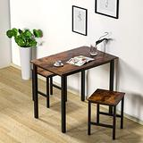 DKLGG 3 Pieces Dining Set, Kitchen Dinner Table and Stools for 2 Perfect for Breakfast Nook, Living Room, Saving for Small Space, Rustic Brown