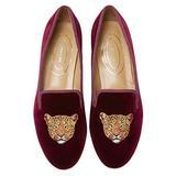 Journey West Women's Loafer Flat Velvet Embroidery Smoking Slippers Slip on Shoes for Women Leopards Burgundy US 9.5