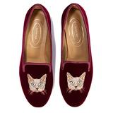 Journey West Women's Loafer Flat Velvet Embroidery Smoking Slippers Slip on Shoes for Women Cat Burgundy US 10