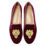 Journey West Women's Loafer Flat Velvet Embroidery Smoking Slippers Slip on Shoes for Women Vine Burgundy US 6.5