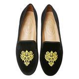 Journey West Women's Loafer Flat Velvet Embroidery Smoking Slippers Slip on Shoes for Women Vine Black US 6.5