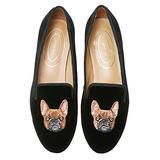 Journey West Women's Loafer Flat Velvet Embroidery Smoking Slippers Slip on Shoes for Women Bulldog Black US 6