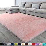 Pink Soft Area Rug for Bedroom,6x9.6,Fluffy Rugs,Shag Rugs for Living Room,Furry Rug for Girls Room,Shaggy Rug for Kids Baby Room,Fuzzy Rug for Nursery Dorm,Big Rug,Non-slip Rug,Pink Carpet,Home Decor
