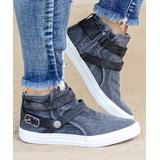 LoLa Shoes Women's Sneakers Blue - Blue Double Strap-Accent Canvas Sneaker - Women