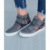 LoLa Shoes Women's Sneakers Charcoal - Charcoal Double Strap-Accent Plaid Canvas Sneaker - Women