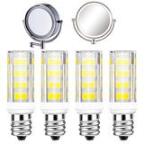 4Pack LED Makeup Mirror Bulb Replacement for RP34B Cosmetic Vanity Makeup Mirror with Single Double Sided Lighted Magnification (Daylight White)