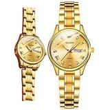 Gold Watches for Women Luxury Women's Wrist Watches with Day and Date,OLEVS 14k Gold Stainless Steel Watch Woman Quartz Analog Small Face Ladies Gold Watches Simple Dress Wristwatch Womens