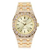 Men's 41mm Iced Out Metal Band Watch with Cubic Zirconia Studded Solitaire Bezel and Bling-ed Out Band - Adjustable Sizing - Quartz Movement