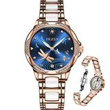Women's Automatic Watches Self Winding for Women Rose Gold Watches Ceramic Watches Stainless Steel Waterproof Mechanical Watches Ladies Elegant Blue Watches Fashion OLEVS Women Diamond Wristwatches
