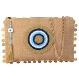Karens Line Mia Evil Eye Eco Friendly Jute Crossbody Chain Strap Purse Large Space with Zipper Closure&Crystal Decoration Natural Beige