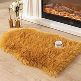 Asrug Super Soft Fluffy Shaggy Faux Fur Rug No Shedding Faux Sheepskin Chair Cover Seat Pad Sofa Pad Couch Pad Fuzzy Plush Area Rug for Living Room Bedroom, 2ft x 3ft, Champagne