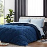 NexHome Lightweight Comforter Set Queen Size, Down Alternative Solid Comforter Set Thin Microfiber Reversible Summer Bedding Comforter with 2 Pillow Sham (Queen, Navy Blue/Light Blue)