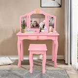 JOYMOR Kids Princess Vanity Table and Chair Set, Kids Vanity Set with Drawer & Tri-Folding Mirror, 2 in 1 Makeup Dressing Table with Detachable Top, Pretend Beauty Play Vanity Set for Girls (Pink)