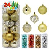 """Joiedomi 24 Pcs Christmas Ball Ornaments, Shatterproof Christmas Ornaments for Holidays, Party Decoration, Tree Ornaments, and Special Events (Gold, 3.15"""")"""