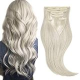MIRMID Clip in Human Hair Extensions 100% Real Hair Extensions Clip in Human Hair 7 Pieces 100G Extensions Real Hair Clip Ins (20inch, #Grey)