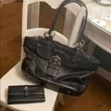 Coach Bags | Coach Black Leather Purse & Wallet | Color: Black/Silver | Size: Large Tote And Matching Wallet