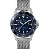 Navi Xl Automatic 41mm Stainless Steel Mesh Band Watch Steel/blue - Blue - Timex Watches