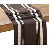 Grey Table Runner - Fall Table Runners - French Stripe Table Runner - Cotton Table Runners - Cotton Runners 72 Inches - Grey Table Runners - Striped Table Runne(French Stripe - 14x72, Gray (Full))