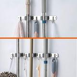 THIRDBST Broom Mop Holder Wall Mounted Stainless Steel Room Organization, Broom Rack Tool Hanger Broom,3 Clamps 4 Hooks and 2 Clamps 3 Hooks Set Garage Organization Tool Hanger