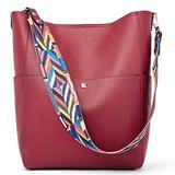 BROMEN Women Handbag Designer Vegan Leather Hobo Handbags Shoulder Bucket Crossbody Purse Red