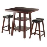 Three Posts™ Aislinn Counter Height Dining SetWood/Upholstered Chairs in Brown, Size 36.0 H x 33.8 W x 33.8 D in   Wayfair