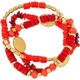 Bay Studio Three Row Beaded Faux Coral Stretch Bracelet Set
