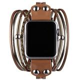 Vikoros Multi-Layer Leather Wrap Bracelet Compatible with Apple Watch SE Series 6 5 4 3 44mm 42mm for Women Mens, Boho Stylish Cuff Bangle Watch Strap for Iwatch Bands Ivory