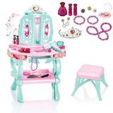 Toddler Vanity Set, Kids Vanity Table and Chair Set Toy for Little Girls with Sound and Light,Beauty Mirror and Beauty Accessories,Gift Toys for Little Princess Pretend Play (Multicolour, from US)