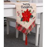 Cuplory Runners Flower - Beige 'Merry Christmas' Floral Tassel-Accent Linen Table Runner