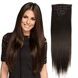 24inch PU Clip in Hair Extensions Synthetic Hair Dark Brown Thick Hair Extensions Clip in Synthetic For Women 160g