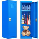 Kids Locker Cabinet, Metal Kids Storage Locker with Lock, blue Locking Kids Coat Locker with Shelves and Hanging Rod for Home, Bedroom, Kids Room, School, Classroom (Steel Frame, 2 Keys Included)