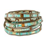 Beaded wrap bracelet, 'Solola Sunset'