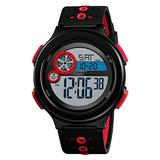 MASTOPMen Digital Sports Watch LED Screen Large Face Military Watches Watch with Silicone Band Luminous Alarm Stopwatch Watches (red)