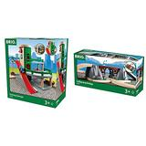 BRIO World - 33204 Parking Garage | Railway Accessory with Toy Cars for Kids Age 3 and Up & 33391 Collapsing Bridge | 3 Piece Toy Train Accessory for Kids Age 3 and Up