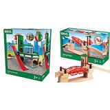 BRIO World - 33204 Parking Garage | Railway Accessory with Toy Cars for Kids Age 3 and Up & 33757 Lifting Bridge | Toy Train Accessory with Wooden Track for Kids Age 3 and Up