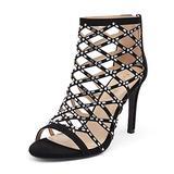 DREAM PAIRS Women's Black Rhinestone Ankle Strap Open Toe Stiletto Heel Sandals Cutout Dress Pump Shoes Size 10 B(M) US Paven