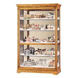 Howard Miller Beutler Curio Cabinet 547-158 – Golden Oak Finish Home Decor, Four Glass Shelves, Five Level Display Case with Locking Slide Door & Light Switch