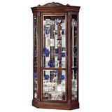 Howard Miller Boyer Corner Curio Cabinet 547-164 – Embassy Cherry Finish, Distressed Home Decor, Seven Glass Shelves, Eight Level Display Case, Locking Front Door & Halogen Light