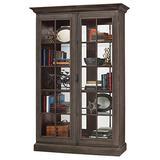 Howard Miller Baltimore Display Cabinet 547-145 - Lightly Distressed Aged Auburn Glass Curio Shelf Case with No Reach Roller Light & Hinged Front Doors