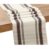 Cotton Table Runners - Grey Table Runner - Cotton Table Runner 108 inches Long - Table Runner Cotton - Holiday Table Runners - Table Runner Farmhouse Style (French Stripe - 14x108, Gray and Red)