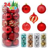 """Joiedomi 24 Pcs Christmas Ball Ornaments, Shatterproof Christmas Ornaments for Holidays, Party Decoration, Tree Ornaments, and Special Events (Red, 3.15"""")"""