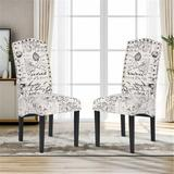 One Allium Way® Sleaford Upholstered Parsons Chair in White/BlackPolyester/Polyester blend/Upholstered/Fabric in Black/Brown/Green | Wayfair