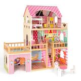 Robotime Wooden Dollhouse w/ Furniture, Doll House Play Set Gift For Girls Wood in Brown/Pink, Size 35.4 H x 35.0 W x 11.8 D in | Wayfair WG151