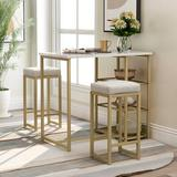 Everly Quinn Pettus 3 - Piece Counter Height Dining SetWood/Metal/Upholstered Chairs in Brown/Gray/White, Size 36.2 H x 23.6 W x 41.3 D in | Wayfair