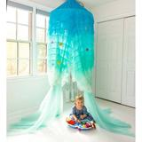 HearthSong Hanging Play Tent Mesh/Fabric in Blue, Size 108.0 H x 25.5 W x 25.5 D in | Wayfair 733498