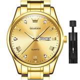 Gold Watches for Men,Fashion Men Wrist Watches with Day Date,Diamond Watches Men,Gold Stainless Steel Analog Man Watch Waterproof,reloj de Hombre,Large Face Mens Dress Watch Luminous,OLEVS Watch Men
