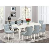 East West Furniture DOSI9-LWH-15 DOSI9-LWH-15-A Set of 8 Amazing Dining Chairs Fabric Baby Blue Beautiful Wood Kitchen Table with Linen White Color, Large