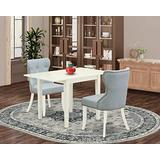 East West Furniture NDSI3-LWH-15 NDSI3-LWH-15-A Set of Two Parson Chairs Fabric Baby Blue Gorgeous Drop Leaf Rectangle Dining Table with Linen White Color, Regular