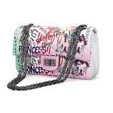 Wxnow Women Graffiti PU Multicolour Quilted Purse Lattice Clutch Shoulder Bag Classic Cross Body with Chain Satchel Handbags White Graffiti