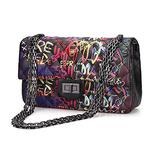 Wxnow Quilted Crossbody for Women PU Leather Shoulder Bags Purse with Chain Strap Handbags Black Graffiti